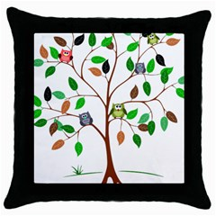 Tree Root Leaves Owls Green Brown Throw Pillow Case (black)