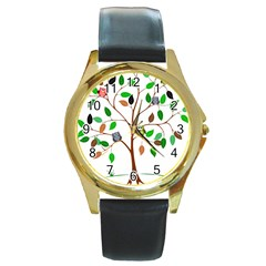 Tree Root Leaves Owls Green Brown Round Gold Metal Watch