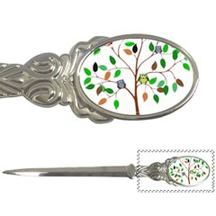 Tree Root Leaves Owls Green Brown Letter Openers