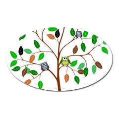 Tree Root Leaves Owls Green Brown Oval Magnet