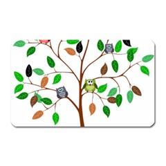 Tree Root Leaves Owls Green Brown Magnet (Rectangular)