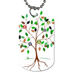 Tree Root Leaves Owls Green Brown Dog Tag (two Sides)