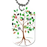 Tree Root Leaves Owls Green Brown Dog Tag (Two Sides) Front