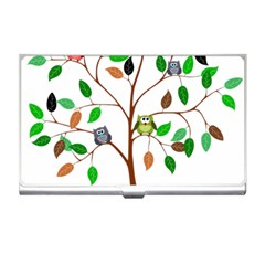 Tree Root Leaves Owls Green Brown Business Card Holders