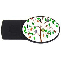 Tree Root Leaves Owls Green Brown USB Flash Drive Oval (1 GB)