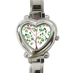 Tree Root Leaves Owls Green Brown Heart Italian Charm Watch