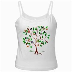 Tree Root Leaves Owls Green Brown Ladies Camisoles