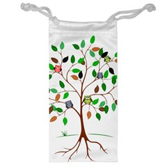 Tree Root Leaves Owls Green Brown Jewelry Bag