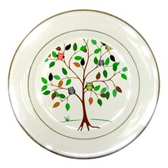 Tree Root Leaves Owls Green Brown Porcelain Plates