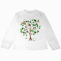Tree Root Leaves Owls Green Brown Kids Long Sleeve T Shirts