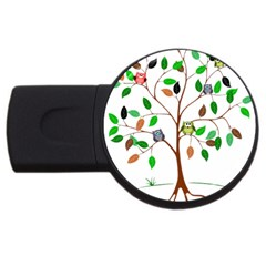 Tree Root Leaves Owls Green Brown Usb Flash Drive Round (4 Gb)