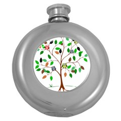 Tree Root Leaves Owls Green Brown Round Hip Flask (5 oz)