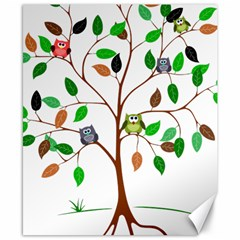 Tree Root Leaves Owls Green Brown Canvas 8  x 10