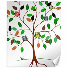 Tree Root Leaves Owls Green Brown Canvas 16  X 20