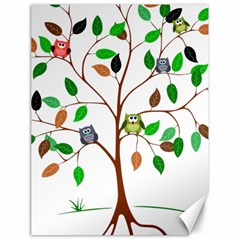 Tree Root Leaves Owls Green Brown Canvas 18  x 24