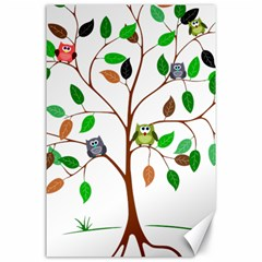 Tree Root Leaves Owls Green Brown Canvas 24  x 36
