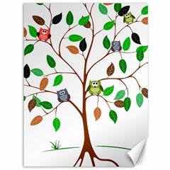 Tree Root Leaves Owls Green Brown Canvas 36  X 48