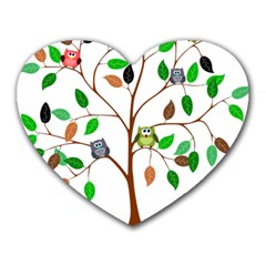 Tree Root Leaves Owls Green Brown Heart Mousepads