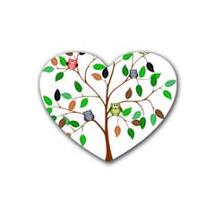 Tree Root Leaves Owls Green Brown Heart Coaster (4 Pack)