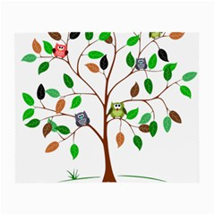 Tree Root Leaves Owls Green Brown Small Glasses Cloth (2-Side)