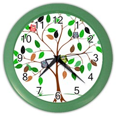 Tree Root Leaves Owls Green Brown Color Wall Clocks