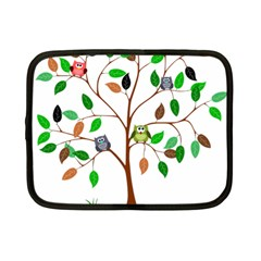Tree Root Leaves Owls Green Brown Netbook Case (small)