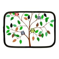Tree Root Leaves Owls Green Brown Netbook Case (Medium)