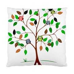 Tree Root Leaves Owls Green Brown Standard Cushion Case (two Sides)