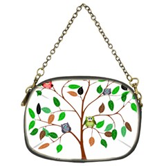 Tree Root Leaves Owls Green Brown Chain Purses (Two Sides)
