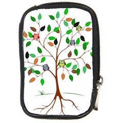 Tree Root Leaves Owls Green Brown Compact Camera Cases