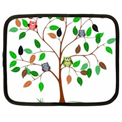 Tree Root Leaves Owls Green Brown Netbook Case (XL)