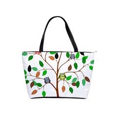 Tree Root Leaves Owls Green Brown Shoulder Handbags