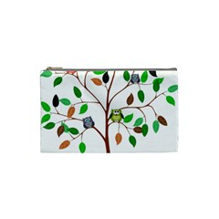 Tree Root Leaves Owls Green Brown Cosmetic Bag (Small)