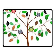 Tree Root Leaves Owls Green Brown Fleece Blanket (small)