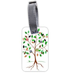 Tree Root Leaves Owls Green Brown Luggage Tags (Two Sides)