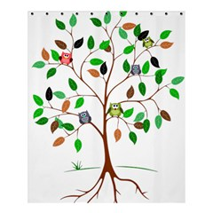 Tree Root Leaves Owls Green Brown Shower Curtain 60  x 72  (Medium)