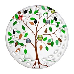 Tree Root Leaves Owls Green Brown Round Filigree Ornament (Two Sides)