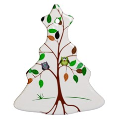 Tree Root Leaves Owls Green Brown Christmas Tree Ornament (Two Sides)