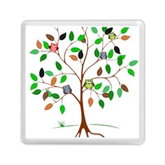 Tree Root Leaves Owls Green Brown Memory Card Reader (square)