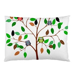 Tree Root Leaves Owls Green Brown Pillow Case (two Sides)