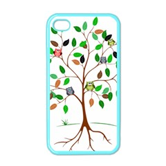 Tree Root Leaves Owls Green Brown Apple iPhone 4 Case (Color)