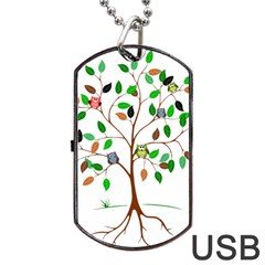 Tree Root Leaves Owls Green Brown Dog Tag Usb Flash (one Side)
