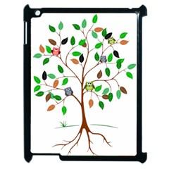Tree Root Leaves Owls Green Brown Apple iPad 2 Case (Black)