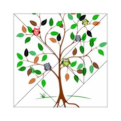 Tree Root Leaves Owls Green Brown Acrylic Tangram Puzzle (6  X 6 )