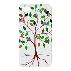 Tree Root Leaves Owls Green Brown Apple iPhone 4/4S Premium Hardshell Case