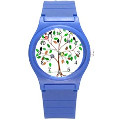 Tree Root Leaves Owls Green Brown Round Plastic Sport Watch (s)