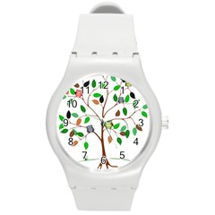 Tree Root Leaves Owls Green Brown Round Plastic Sport Watch (M)