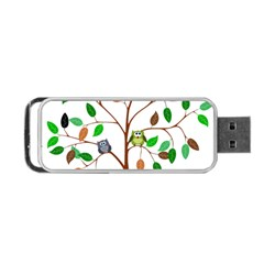Tree Root Leaves Owls Green Brown Portable USB Flash (One Side)