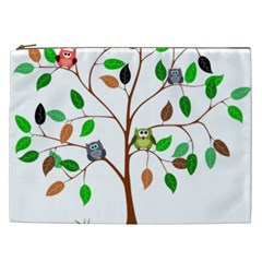 Tree Root Leaves Owls Green Brown Cosmetic Bag (XXL)