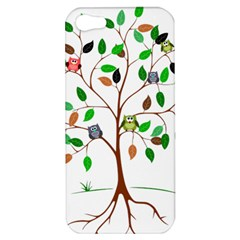 Tree Root Leaves Owls Green Brown Apple iPhone 5 Hardshell Case